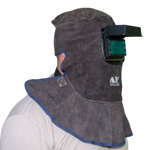 Leather welding mask with passive filter, DIN10 lens 52 x 110 mm Ally Protect AP-3100 model